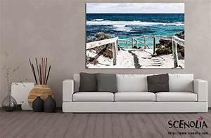 Toile Deco Salon : grand tableau bord de mer et chemin vers la plage imprim par scenolia ~ Teatrodelosmanantiales.com Idées de Décoration