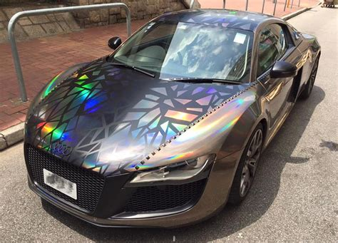 audi r8 wrapped holographic audi r8 by impressive wrap