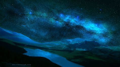 Wallpaper Landscape Night Galaxy Lake Water Nature