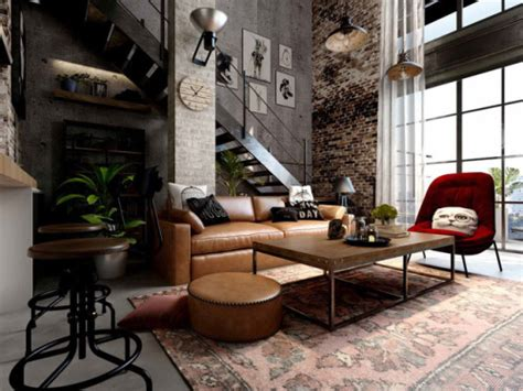 Rich Industrial Style Unites Colours With Exposed Brick Walls by Georgiana Design