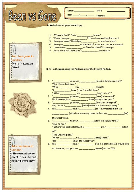 simple  present perfect worksheet