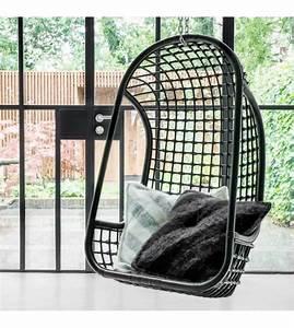 Fauteuil Suspendu Noir : hk living fauteuil suspendu en rotin noir 55x72x110cm ~ Teatrodelosmanantiales.com Idées de Décoration