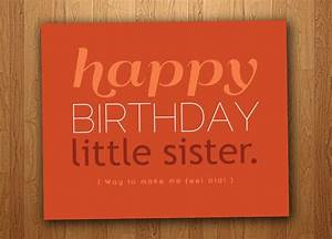 Little Sister Funny Birthday Card (Printable), $3 ...