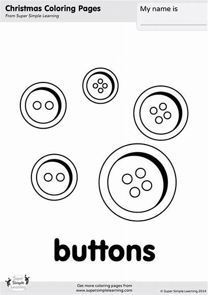 Buttons Coloring Button Pages Simple Snowman Template