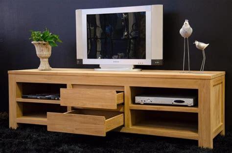 meuble tv 170 cm timea teck naturel 2 tiroirs et 4 compartiments de rangement