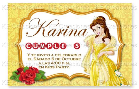 invitaciones kit imprimible bella princesas disney