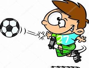 Cartoon Boy Kicking a Soccer Ball — Stock Vector ...