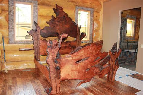 edge redwood burl slab bed rustic bedroom