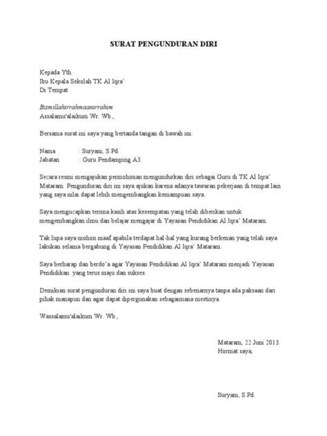 Surat Resign Yang Baik Dan Benar by 3 Contoh Surat Pengunduran Diri Kerja Surat Resign Yang