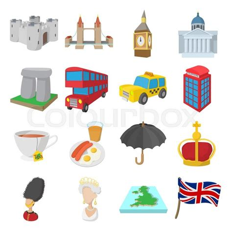 england icons set  cartoon style isolated  white stock vector colourbox