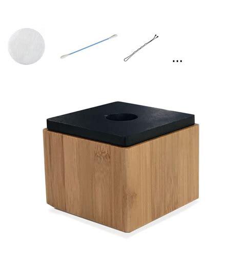 bo 238 te de rangement salle de bain carr 233 e bambou couvercle noir
