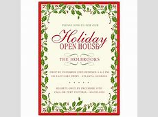 Holly Ribbon Red Border Christmas Invitations PaperStyle