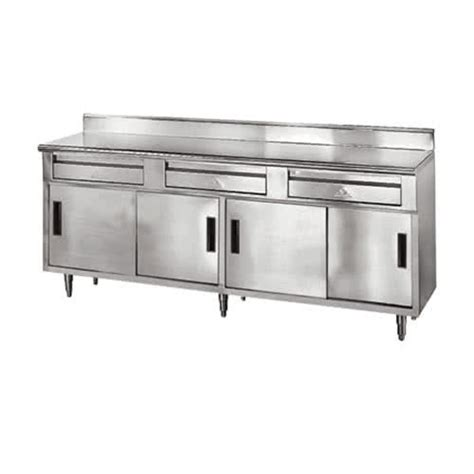 stainless steel work table with two shelves advance tabco sdrc 306 30 quot x 72 quot 14 gauge enclosed base