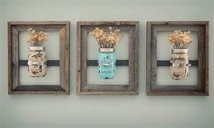Mason jar frames with painted jars