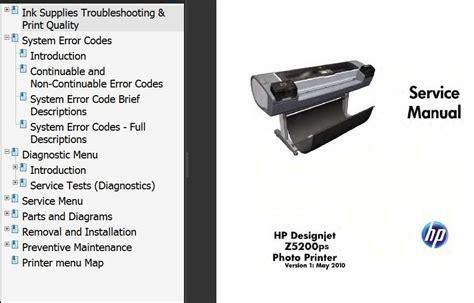 list hp designjet parts manual service series printers diagrams z5200 diagram ink printer 2manuals