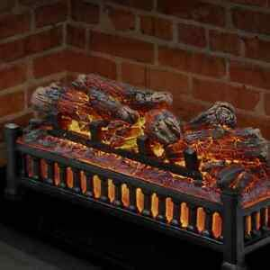 electric fireplace logs insert wood crackling glowing faux