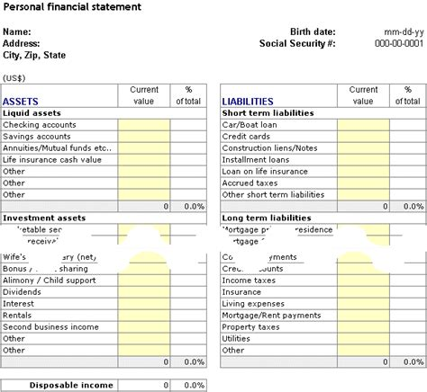 personal finance worksheet personal financial planning and analysis