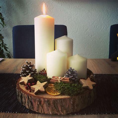 Weihnachtsgestecke Aus Holz by Die Besten 25 Holzscheiben Deko Ideen