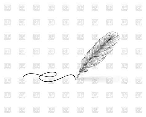 Feather Pen Writing On White Background Royalty Free