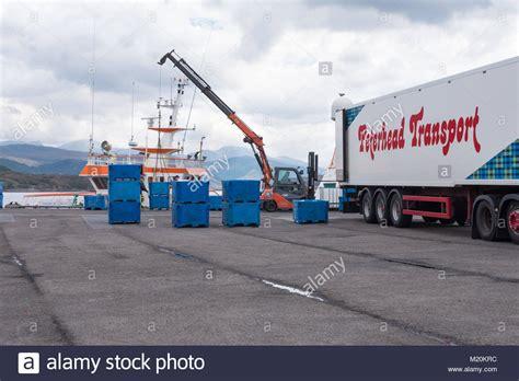 Boat Road Transport Cost by Fishing Trawler Scotland Stock Photos Fishing Trawler