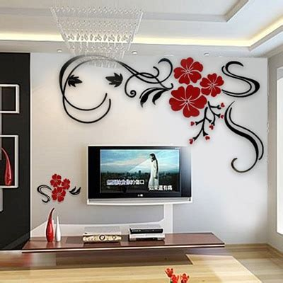 rich lucky flower crystal  dimensional wall stickers
