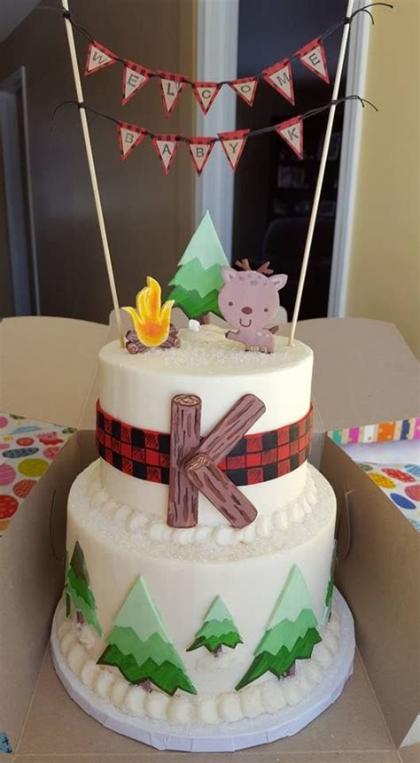 woodland animal buffalo plaid inspired baby shower cake