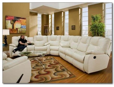 White Leather Reclining Sectional Sofa by Recline Designs Furniture Camry White Leather Reclining