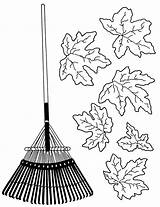Rake Leaves Raking Coloring Pages Clipart Drawing Sketch Colouring Template Cliparts Getdrawings Autumn sketch template