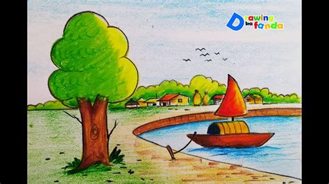 Village Boat Drawing by How To Draw Boat In Lake Step By Step Very Easy Youtube