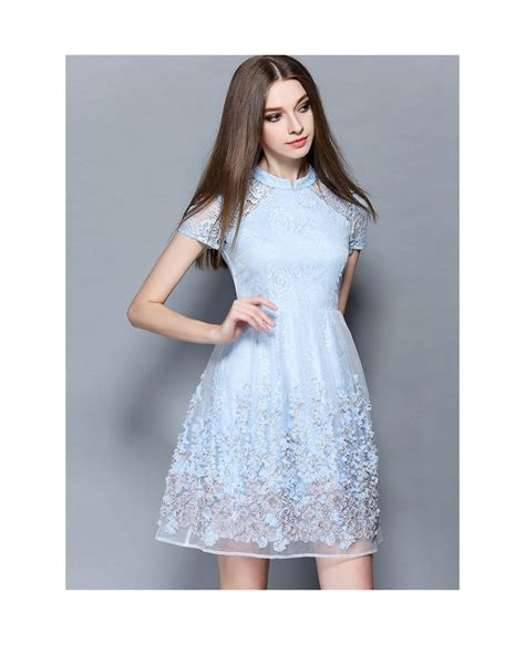 Cotton Dress Baby Blue baby blue lace wedding guest dress gemgrace