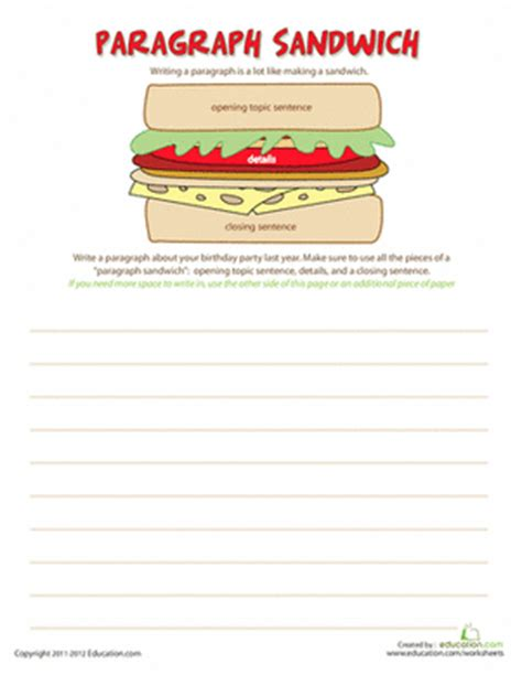 how to write a paragraph worksheet education