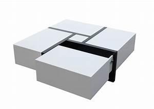 Table Basse Avec Tiroir : table basse laqu e blanc avec tiroir table basse rectangulaire en bois trendsetter ~ Teatrodelosmanantiales.com Idées de Décoration