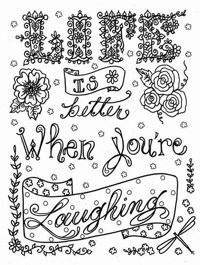 Coloring Pages Quote Adult Adults Teens Laugh