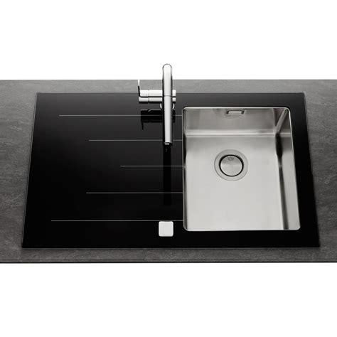 meuble cuisine sous evier évier en inox lisse et verre noir 1 bac égouttoir gauche
