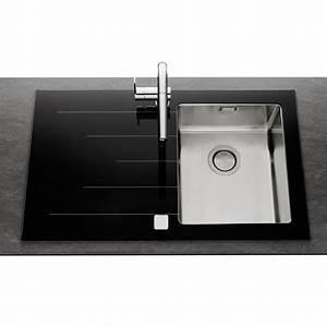 évier En Résine Noir : vier inox lisse et verre noir apell isis 1 bac avec ~ Premium-room.com Idées de Décoration