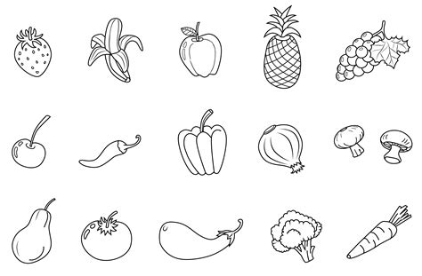 fruits and vegetables line set free clip