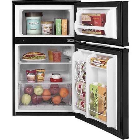 2 door mini fridge ge 3 1 cu ft 2 door compact refrigerator black