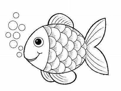 Fish Coloring Pages Printable Rainbow Clipart Drawing