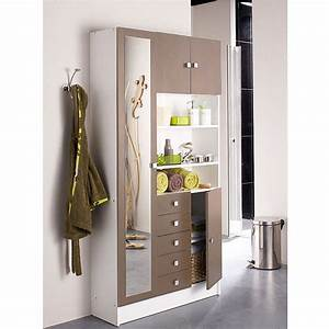 Armoire Porte Miroir : armoire sdb 1 miroir 4 portes 5 tiroirs blanc taupe ~ Teatrodelosmanantiales.com Idées de Décoration