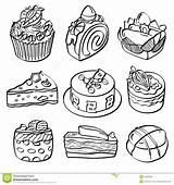 Dessert Baking Sketch Different Drawing Kinds Menu sketch template