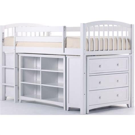 ne kids school house storage junior loft in white 7060njl