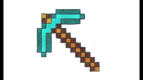 como desenhar uma picareta de diamante  minecraft