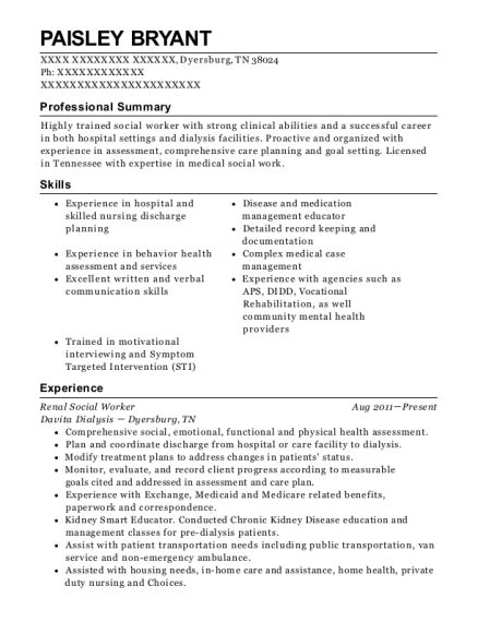 Sle Worker Resume by Best Renal Social Worker Resumes Resumehelp