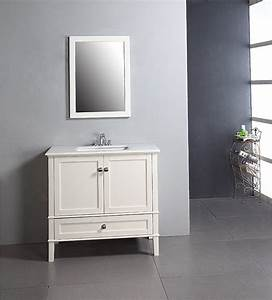 Windham soft white 36 inch bath vanity with 2 doors for Bathroom vanity with bottom drawer