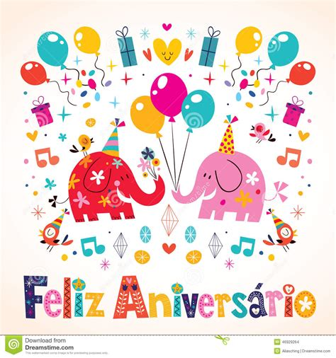 feliz aniversario portuguese happy birthday card stock vector illustration of event greeting