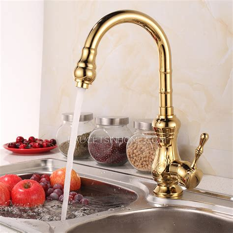 Best Designed Golden Brass Kitchen Faucets Single Handle