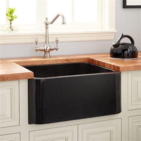 polished granite farmhouse sink black kitchen