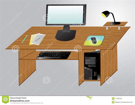 desktop computer   table stock vector illustration