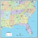Southeast United States Wall Map - The Map Shop