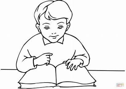 Coloring Boy Reading Drawing Pages Books Child